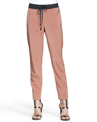 Drawstring Stretch Silk Pants