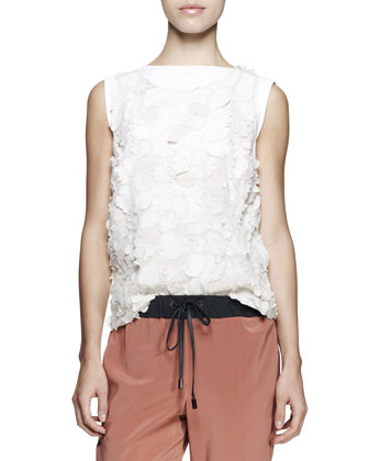 Sleeveless Embroidered Flower Top