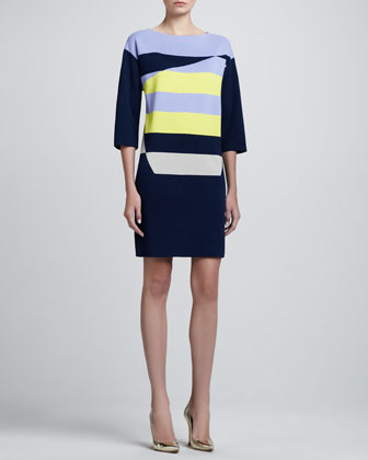 Diagonal Milano Knit Colorblock Tunic Dress, Caviar/Limestone