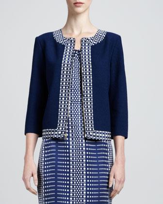 Nouveau Boucle Knit Jacket, Marine/White