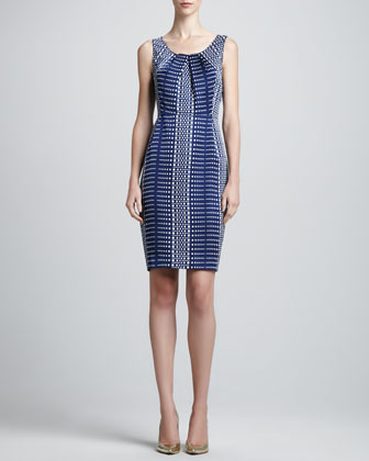 Sleeveless Linear Silk Faille Dress, Marine/White