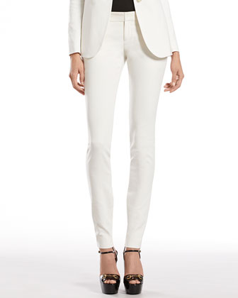 Pearl White Stretch Cotton Skinny Pants
