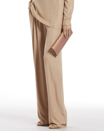 Spring Rose Silk Georgette Relaxed Pants