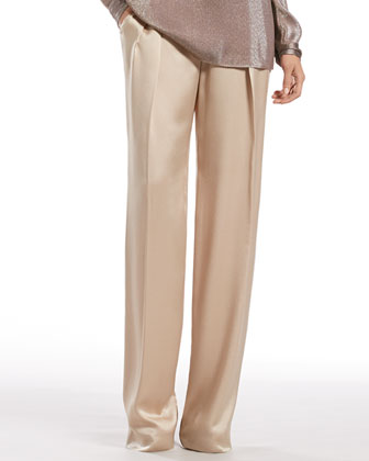 Ivory Hammered Silk Relaxed Fit Pants