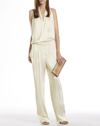 Iridescent White Draped Jumpsuit