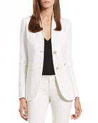 Pearl White Stretch Cotton Stand-Up Collar Jacket