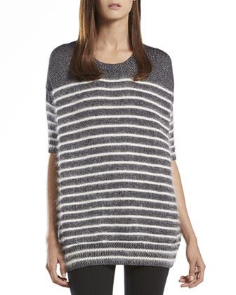 Metallic Striped Crewneck Sweater Top