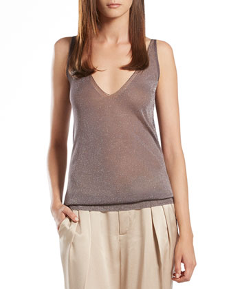 Metallic Gray Tank Top
