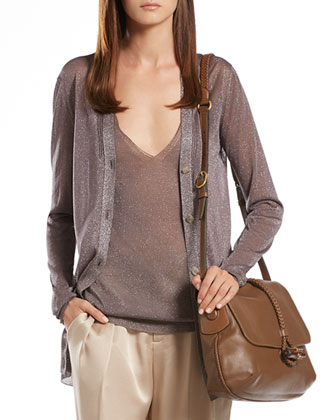 Metallic Gray Cardigan