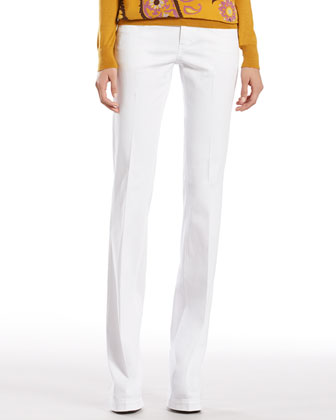 White Stretch Cotton Denim 70's Pants