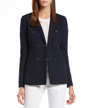 Blue Jacquard Jersey Double-Breasted Jacket