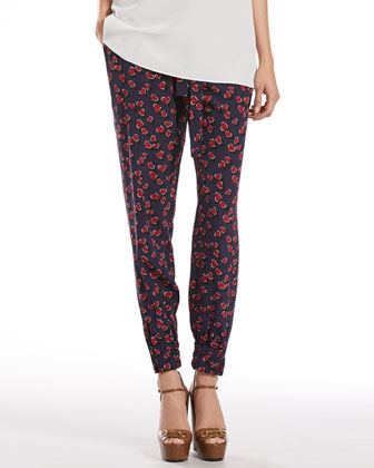 Heartbeat Print Silk Jogging Pants