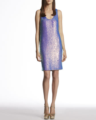 Blue Violet Silk Georgette Sequin Sleeveless Dress