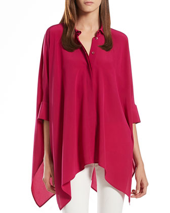 Fuchsia Silk Cape Shirt