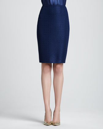 Tonal Chase Dot Pencil Skirt, Marine