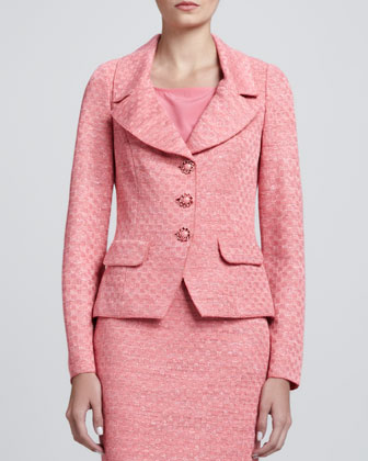 Space-Dyed Damier Fitted Jacket, Pencil Skirt & Shell with Shoulder Shirring