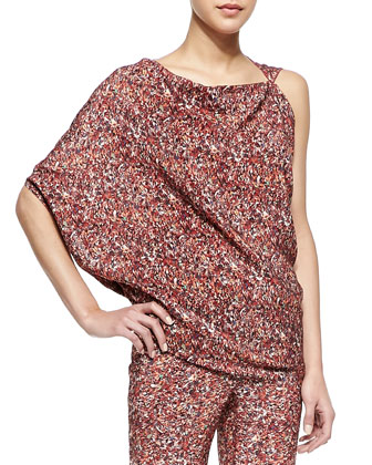 Printed Silk Georgette Asymmetric Top & Printed Silk Georgette Pants