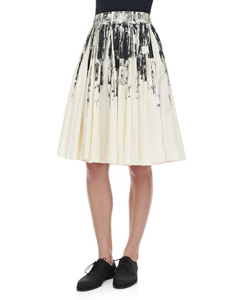 Pleated Printed Cotton Skirt, White/Black