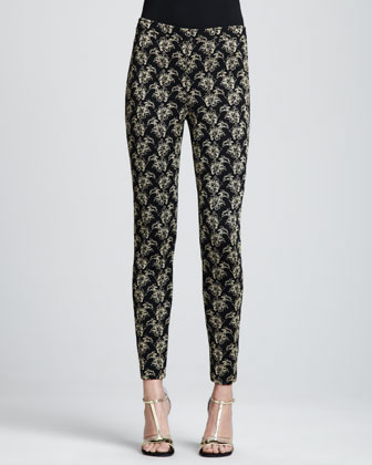 Jacquard Ankle Pants, Caviar/Gold