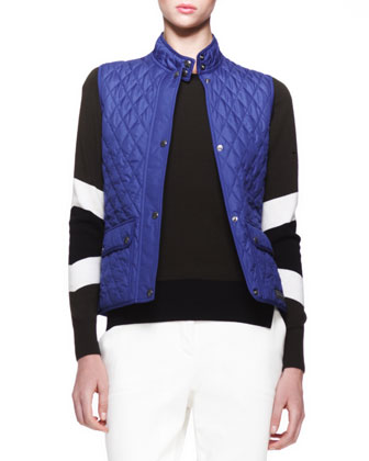 Weskit Quilted Tech Vest, Banham Racing Stripe Sweater & Marston Cropped ...