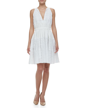 Cinched-Waist Eyelet Dress