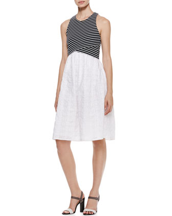 Striped-Cross-Front Combo Dress