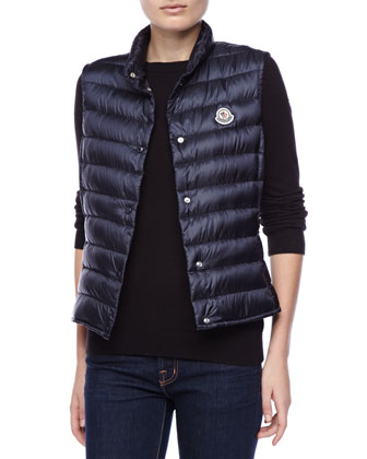 Snap Puffer Vest, Royal