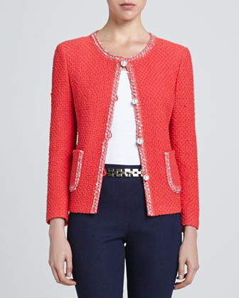Diamond Knit Bracelet-Sleeve Jacket, Hibiscus