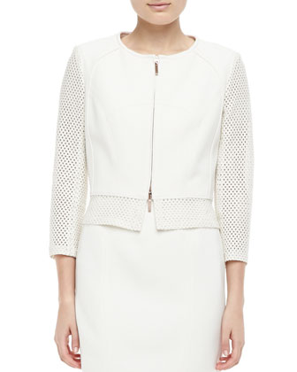 Perforated Zip-Front Jacket, Ecru