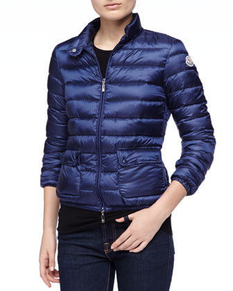 Zip Puffer Jacket with Pockets, Navy