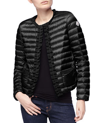 Ribbon-Trim Puffer Jacket, Black
