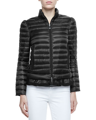 Peplum Puffer Jacket, Black
