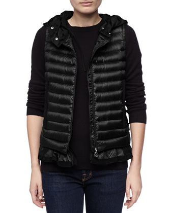 Hooded Peplum Puffer Vest, Black