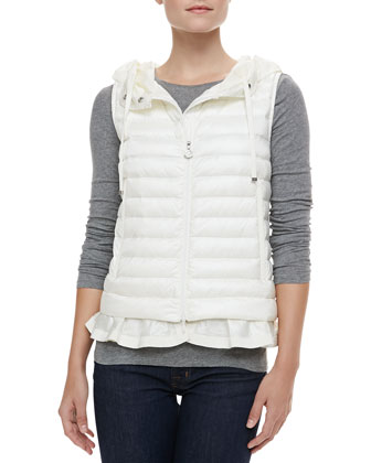 Hooded Peplum Puffer Vest