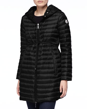 Long Puffer Coat with Drawstring, Black