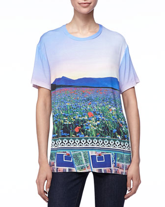 Floral Fluorescent T-Shirt, Multicolor