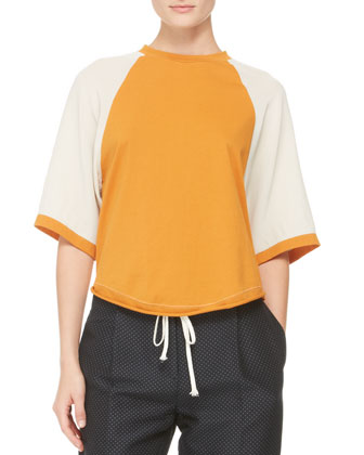 Half-Sleeve Baseball Shirt, Bone/Persimmon