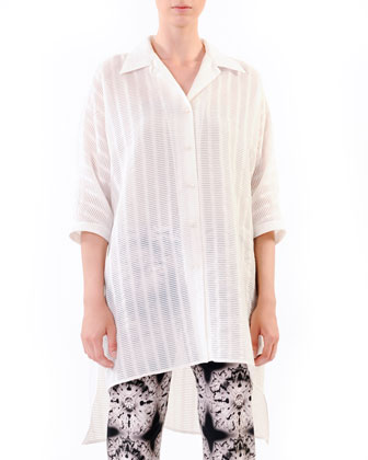 Oversized Devore Tunic, White