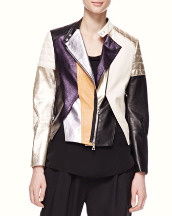 Shimmery Colorblock Leather Biker Jacket