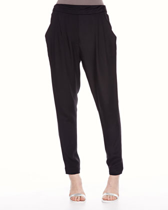 Pocketed Draped Trousers, Black
