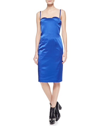Spaghetti-Strap Satin Dress, Blue