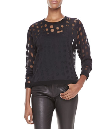 Dot-Cutout Sweater, Spaghetti-Strap Tank & Skinny Leather Pants