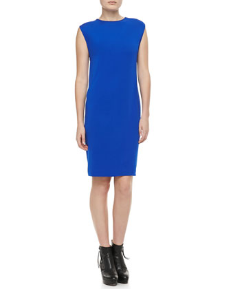 Sleeveless Slim Jersey Dress, Royal Blue