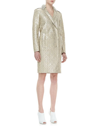 Mink-Collared Metallic Damask Leather Coat, Gold