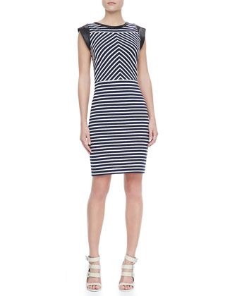 Sheath Dress with Leather Cap Sleeves, Navy/White