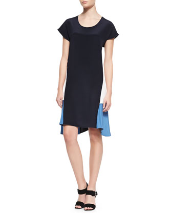 Handkerchief Hem Cap-Sleeve Dress, Navy/Ivory