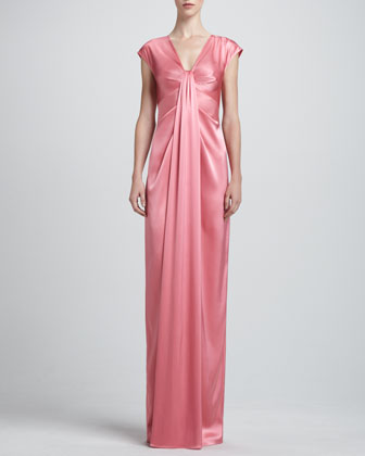Liquid satin V-Neck Cap Sleeve Gown with Front Drape & Slit