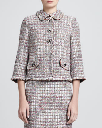 Glitter Eyelash Stripe Tweed Knit Jacket and Sheath Dress, Caviar/Multi
