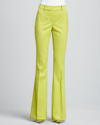 Boot-Cut Trouser Pants, Chartreuse