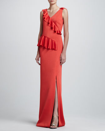 Sateen Milano Knit V-Neck Gown w/ Knit Ruffle & Front Slit